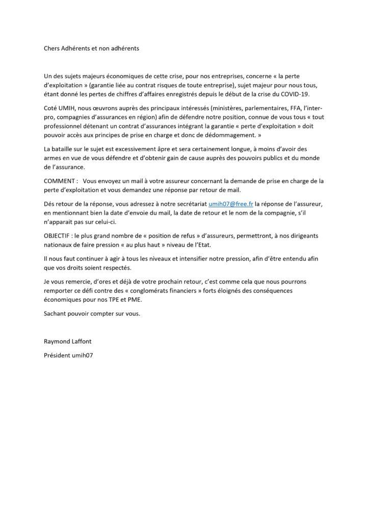 Courrier assurance perte d'exploitation