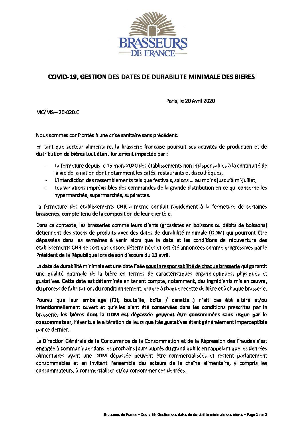 BdF 20-0420 Communication CHR DDM dépassée bières
